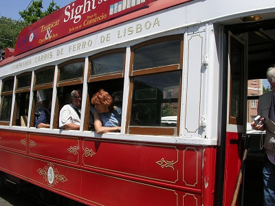 Red tram tour sightseeing Lisbon