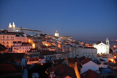 Lisbon Alfama from viewpoint Portas do Sol