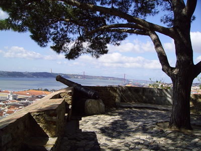 Lisbon seen from the Castle of Jao Jorge April 25 Bridge