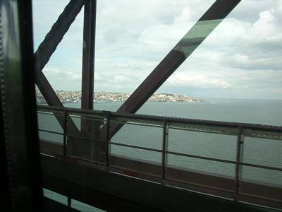 Public transport Alfa Pendular train view 25 April Bridge Lisbon downtowm