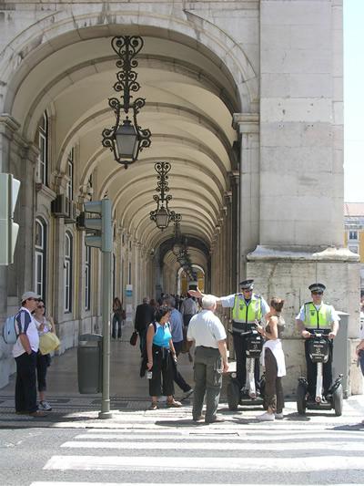 Lisbon Praca do Comercio friendly policemen