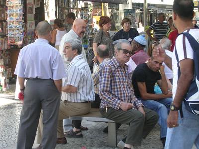 Lisbon Rossio square kiosk