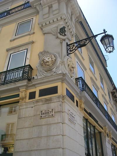 Lisbon shopping Rua Garrett building