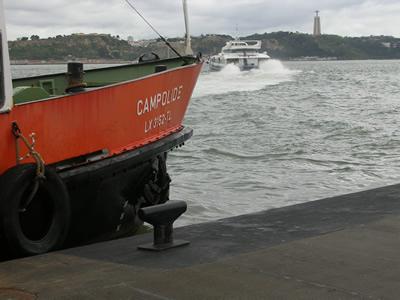 Lisbon Cais do Sodre ferry view Christo Rei
