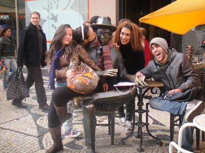 Lisbon cafe A Brasileira tourist attraction statue Fernando Pessoa