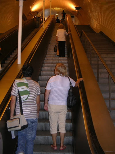 Metro Station Baixa Chiado escalators up to Chiado