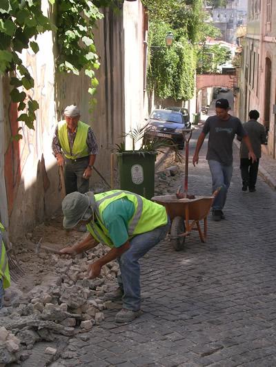 Lisbon pavement workers Bairro Alto