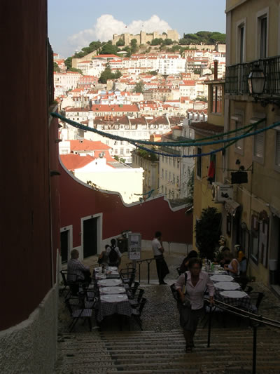 Calcada do Duque stairs restaurants and view Caselo St George