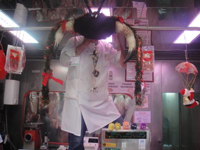 Remarkable window dressing Lisbon Alfama butcher shop
