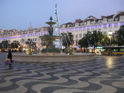 Lisbon Christmas lights Praca dom Pedro IV Rossio