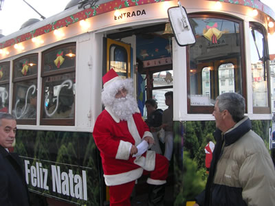 Christmas time in Lisbon Tram and Santa Claus conductur