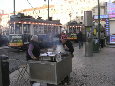 Tram Lisbon Feliz Natal and roasted chestnuts