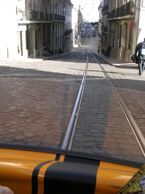 GoCar Lisbon December 2008 hilly streets
