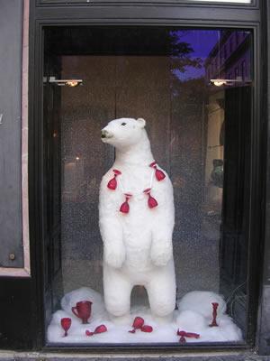 Lisbon Christmas window dressing Largo do Chiado