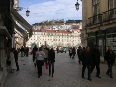 Lisbon Praca da Figueira view from Praca dom Pedro IV