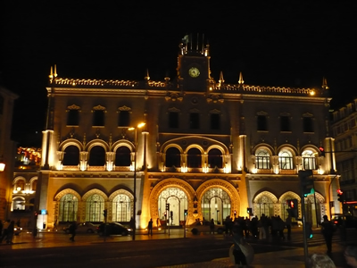 Lisbon Rossio Station at night