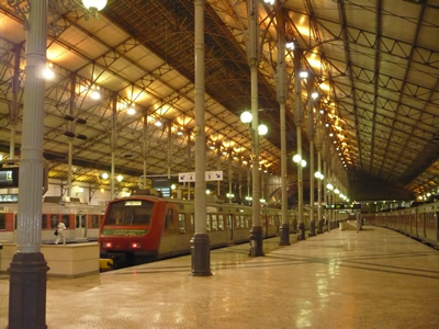 Lisbon Rossio Station inside Train