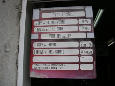 Lisbon Praca da Figueira Pastelaria A Videirinha menu outside