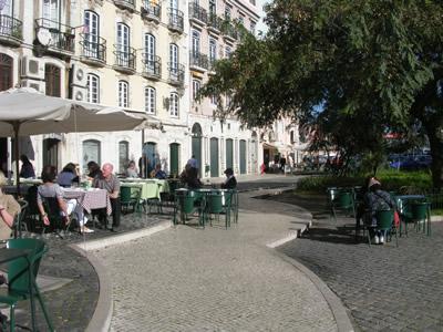 Lisbon Rua dos Bacalhoeiros terraces near Casa dos Bicos