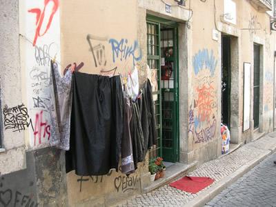 Bairro Alto Lisbon hanging laundry