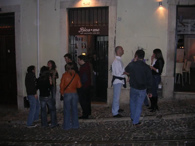 Bicaense Bar Lisbon near Bairro Alto street at night