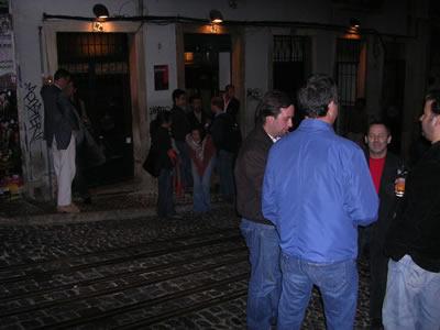 Bar Biaense Lisbon street at night