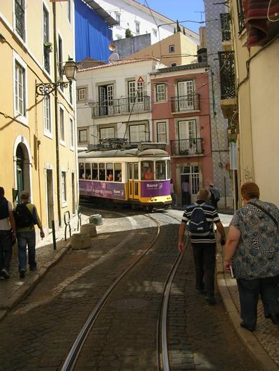 Tram 28 Alfama near flea market Feira da Ladra