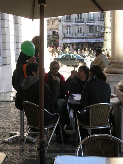 Lisbon cafe Garrett Theatre Dona Maria II facing Rossio
