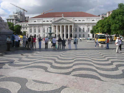 National Theatre Dona Maria II Rossio and wave pavement