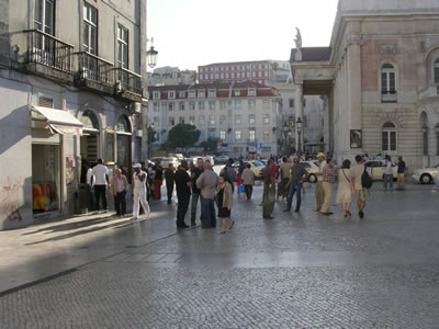 Rossio Lisbon Theatre National Dona Maria II and ginja cafe