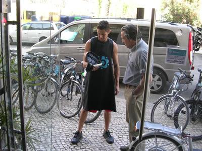 Bikeiberia office and shop Lisbon rent a bike Haroldo Castelo Brano