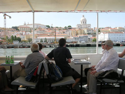 Cruise trip Tagus river Lisbon traditional boat Cacilheiro Alfama Pantheon2