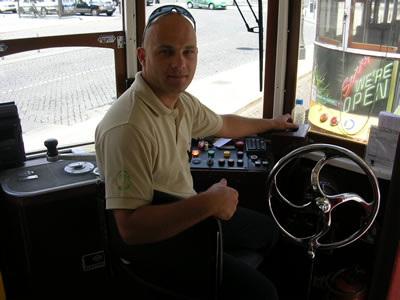 Lisbon historical Red tram tour driver Paulo Dias starting point Praca do Comercio