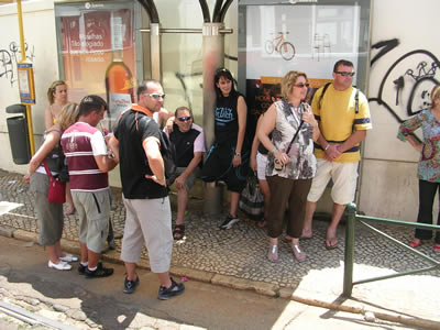 Lisbon Red tram historical tour tourists see other tourists