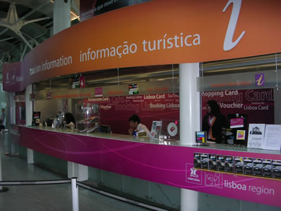 Lisbon airport Portela tourist information center taxi voucher