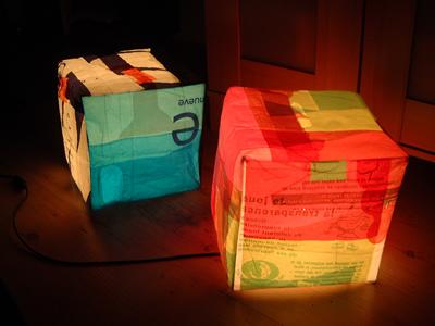 Sandra Guerreiro designer reused plastic bags lamps Candeeiro Cubo