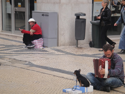 Lisbon beggars using dogs Baixa