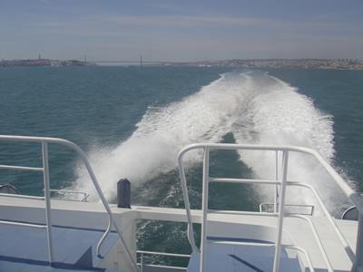 Ferry to Montijo at Cais do Sodre Lisbon 25 April Bridge