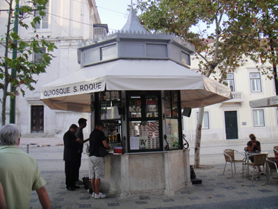 Kiosks in Lisbon Sao Roque museum church restaurant