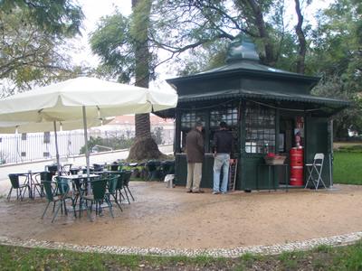 Kiosks in Lisbon fleamarket Feira da Ladra
