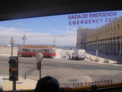 Lisbon sightseeing the yellow double decker Praca do Comercio