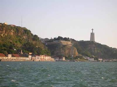 Cacilhas Lisbon view Restaurant Atira-te-ao-rio' and Cristo Rei statue