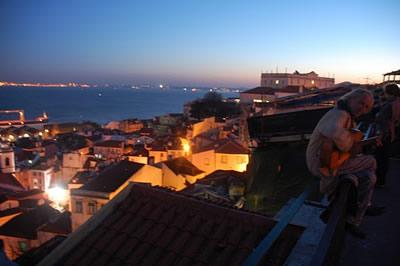Lisbon viewpoint Portas do Sol by night