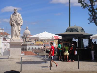 Portas so SOl viewpoint miradouro Alfama Lisbon statue Saint Vincent