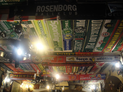 Restaurant 'Adega de São Roque' Lisbon European football team scarfs ceiling