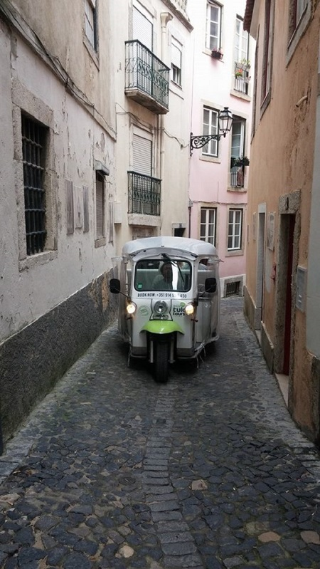 Eco Tuk Tours Lisbon narrow streets old town Lisbon 3