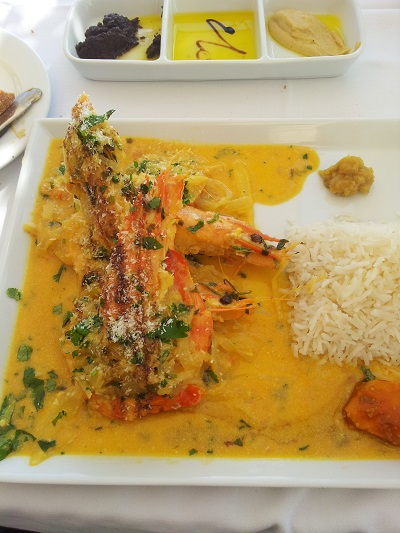 Restaurant Ibo Lisbon facing the Tagus river nov 14 shrimps