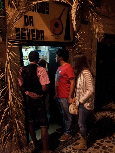 Lisbon Mouraria tiny tavern Os Amigos da Severa people street live fado