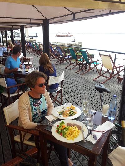 Lisbon terrace restaurant Cariocas de Rio relax near Tagus river 2 lunch Erika