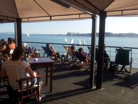 Lisbon terrace restaurant Cariocas de Rio relax nearTagus river1